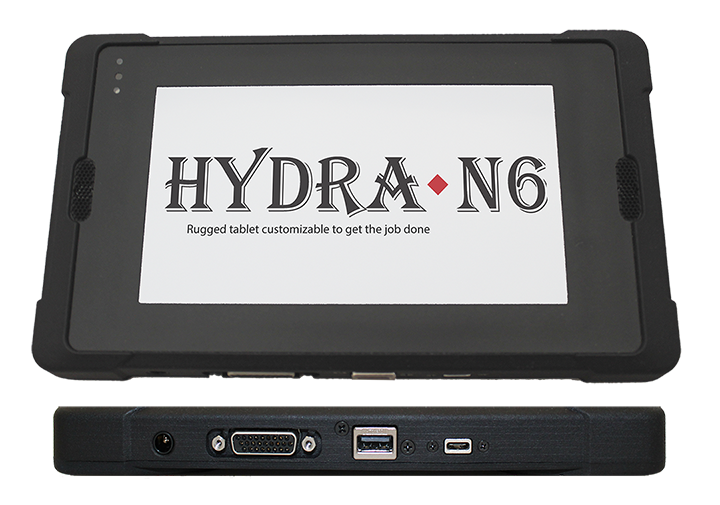 Hydra-Q6 tablet front and bottom views